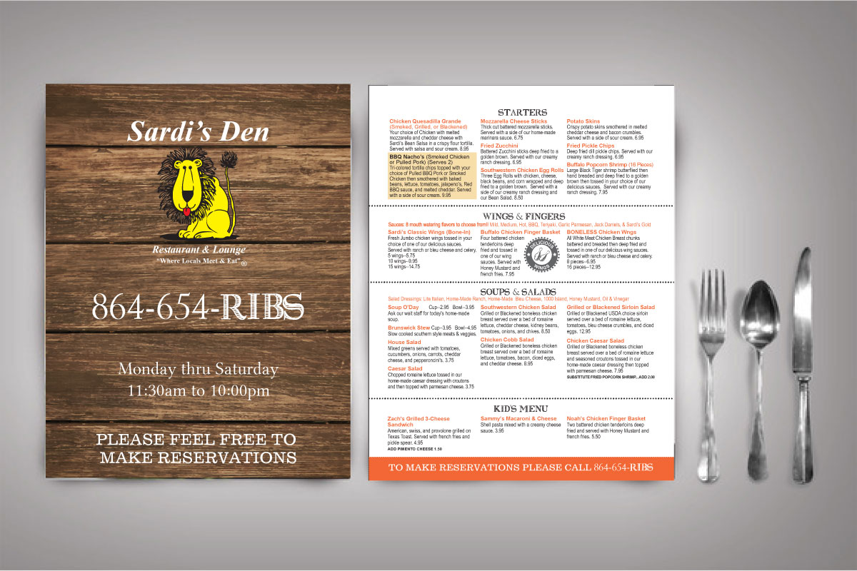 sardis den menu design